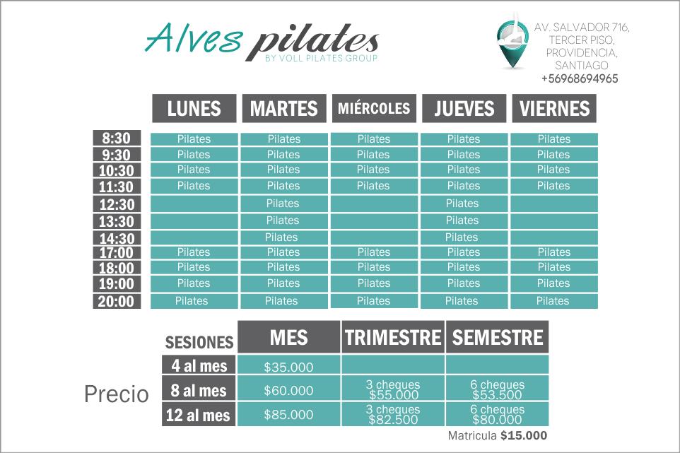 Horarios de Clases de Pilates en Providencia