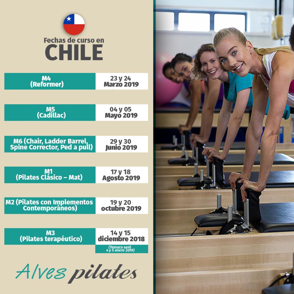 Foto de mujeres sonreindo realizando ejercicio de pilates en reformer y fechas de curso de pilates en Santiago de Chile año 2019