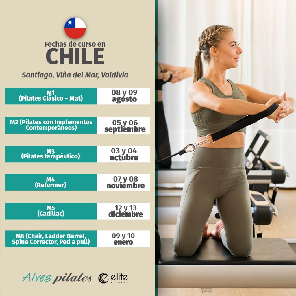 Foto de mujer sonreindo realizando ejercicio de pilates en reformer y fechas de curso de pilates en Valdivia año 2020